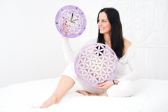Květ života dekorace a hodiny - fialové s ametysty